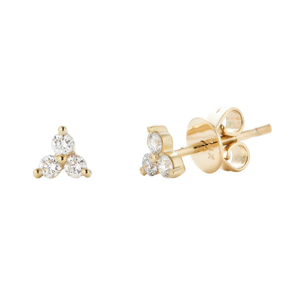 14k Gold Diamond Cluster Studs