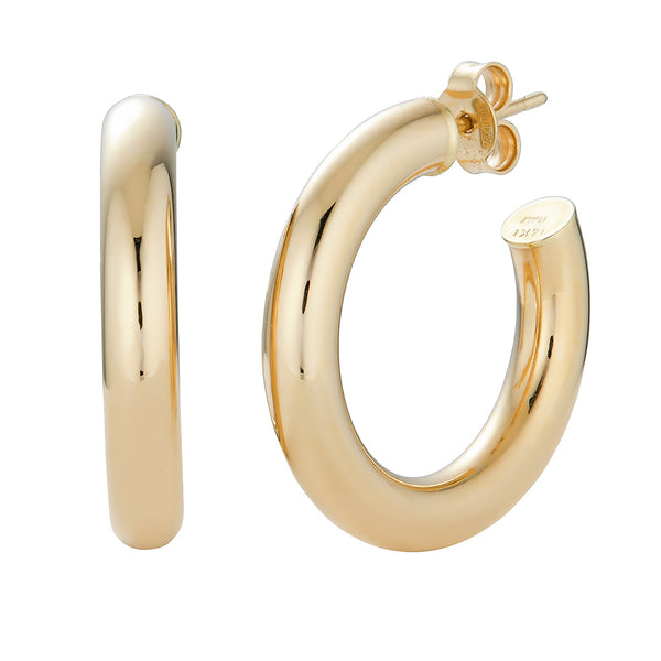 14k Chunky Hoop Earrings- Large