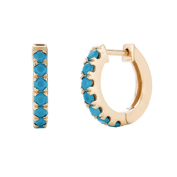 14k Turquoise Hoop Earrings