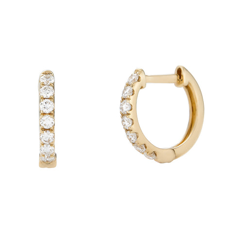 14k Diamond Hoop Earrings - Nolita