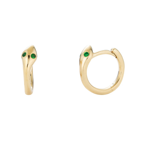 14k Emerald Snake Earrings - Nolita