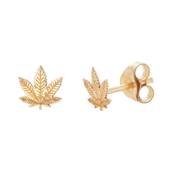 14k Gold Cannibis Studs