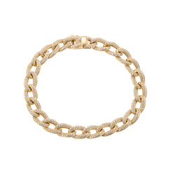14k Gold Diamond Cuban Link Bracelet- Large