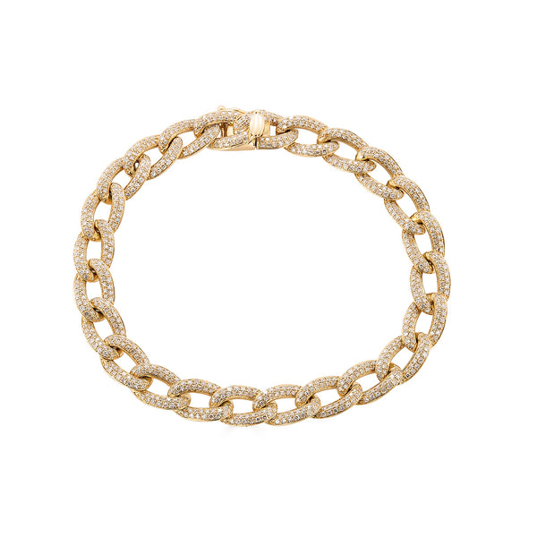 14k Gold Diamond Cuban Link Bracelet- Large - Nolita