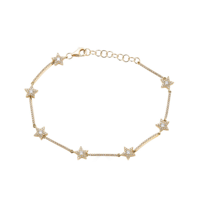 14K Gold Diamond Star Bracelet