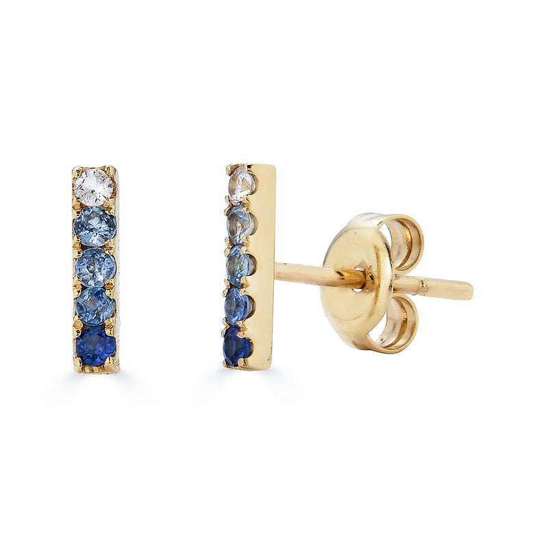14k Blue Ombre Sapphire Bar Stud Earrings