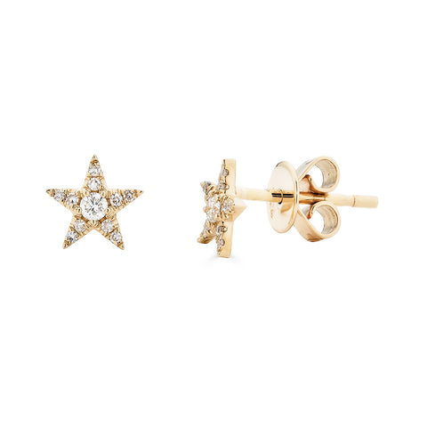14k Diamond Star Studs