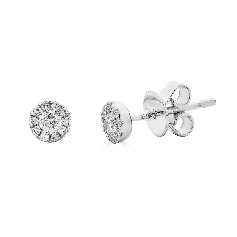 14k Diamond Halo Studs