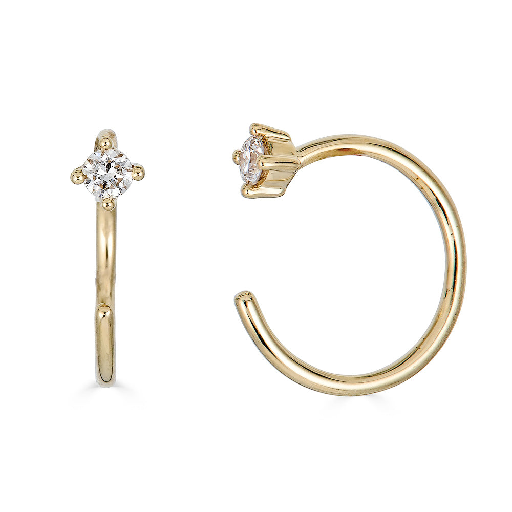 14k Diamond Hook Earring