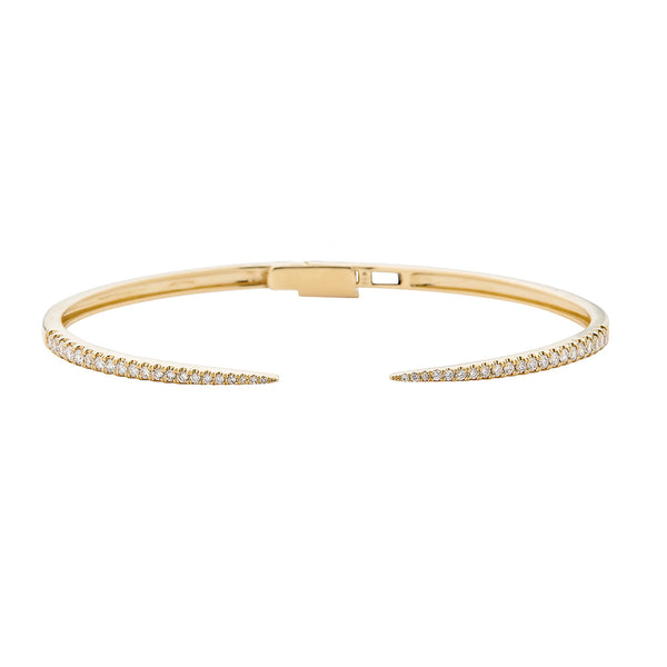 14k Diamond Claw Bangle