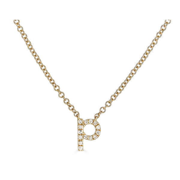 14k Diamond Initial Necklace - Lowercase