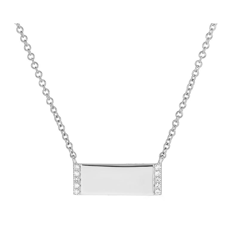 14k Diamond Engravable Bar Necklace- Mini
