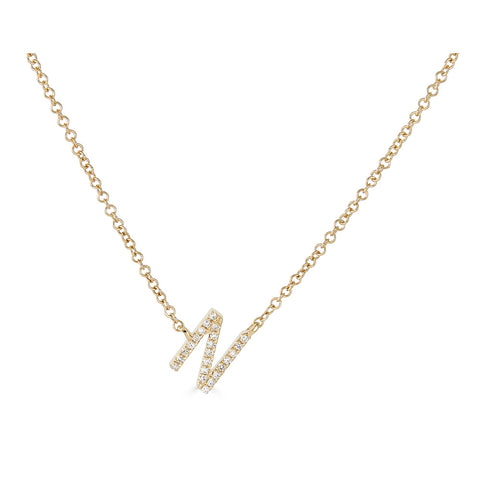 14K Diamond Initial Sideways Necklace