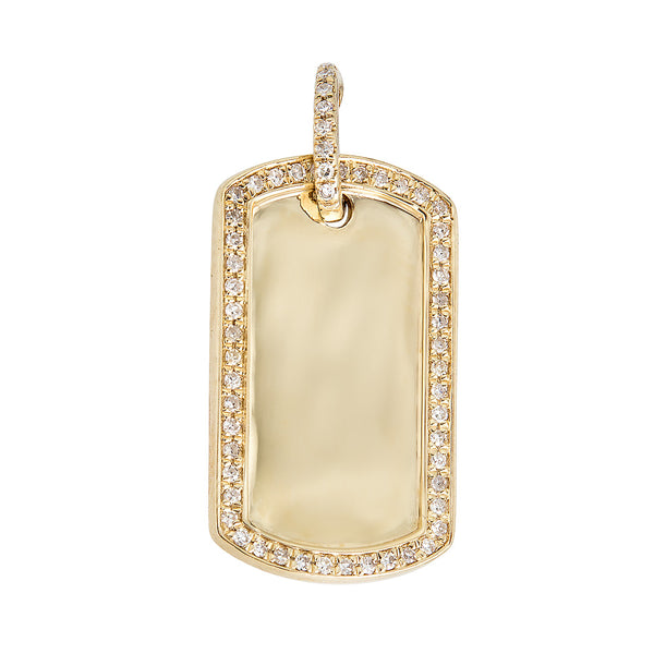 14k Diamond Dog Tag Necklace - Nolita