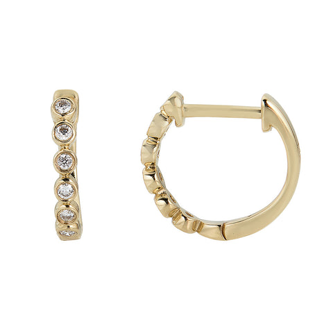 14k Large Bezel Diamond Hoops - Nolita