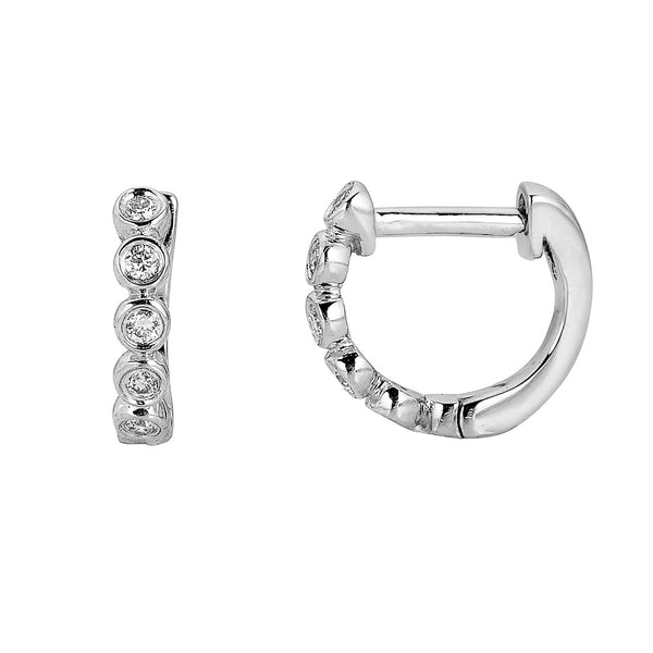 14k Small Bezel Diamond Hoops - Nolita