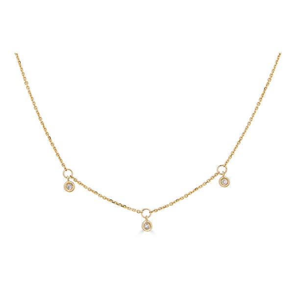 14k Gold Diamond Station Necklace