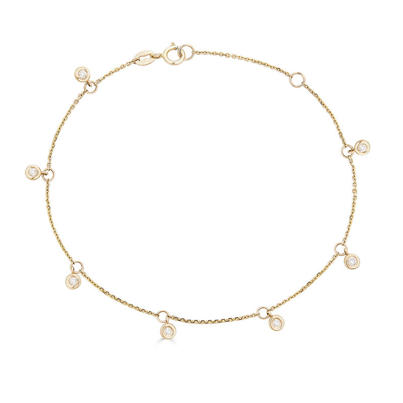 14K Diamond Dangle Bracelet