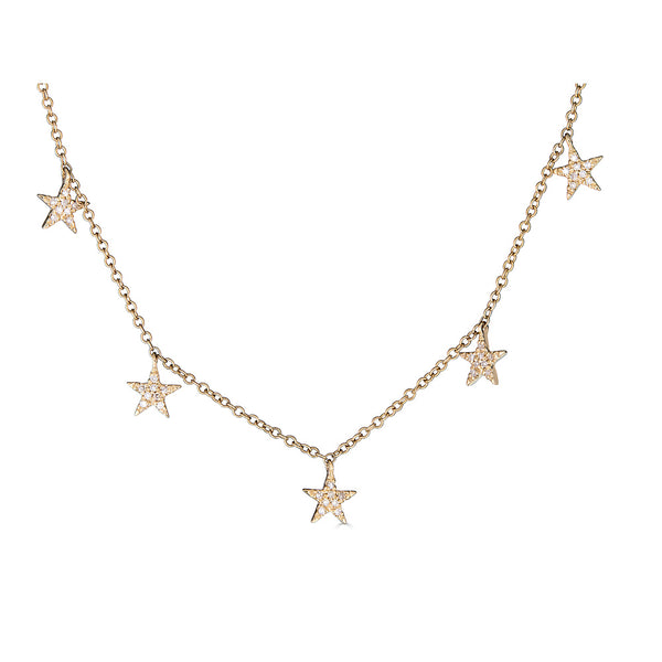 14K Gold Diamond Star Necklace