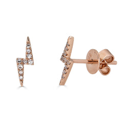 14k Gold Diamond Lightning Bolt Earring