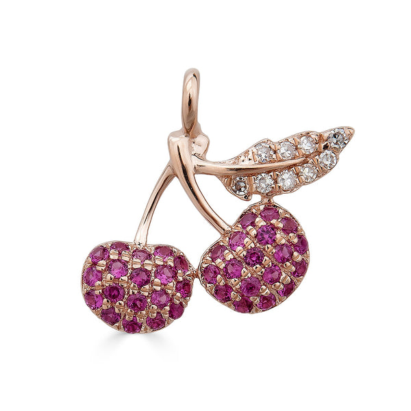 14k Diamond Cherry Charm