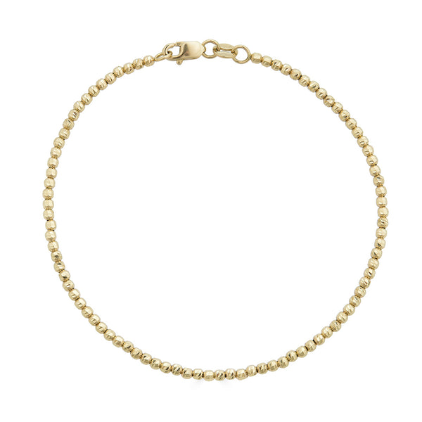 14k Gold Diamond Cut Ball Chain Gold Bracelet - Nolita