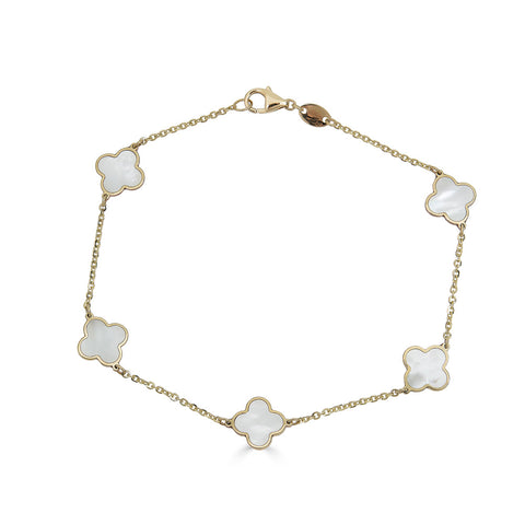 14k Gold Mother of Pearl Clover Bracelet - Nolita