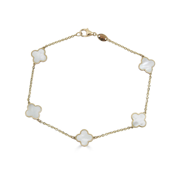 14k Gold Mother of Pearl Clover Bracelet