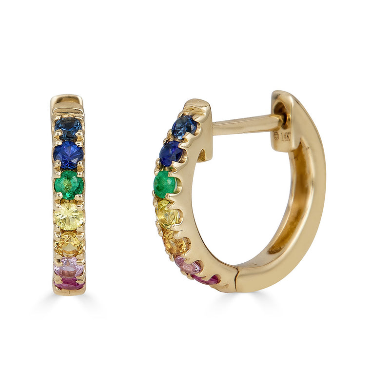 14k Gold Rainbow Hoop Birthstone Earrings