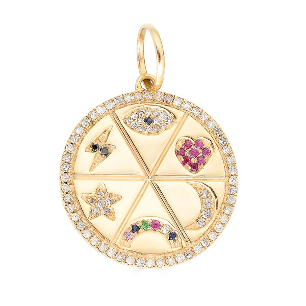14k Gold Diamond Disc Charm