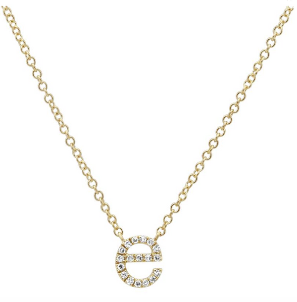 14k Diamond Initial Necklace - Lowercase - Nolita