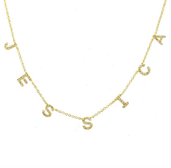 14k Custom Name Diamond Necklace