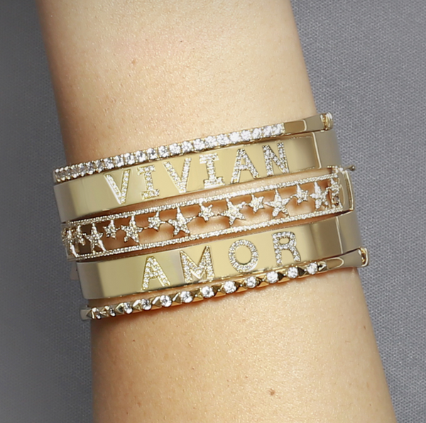 14k Custom Diamond Bangle - Nolita