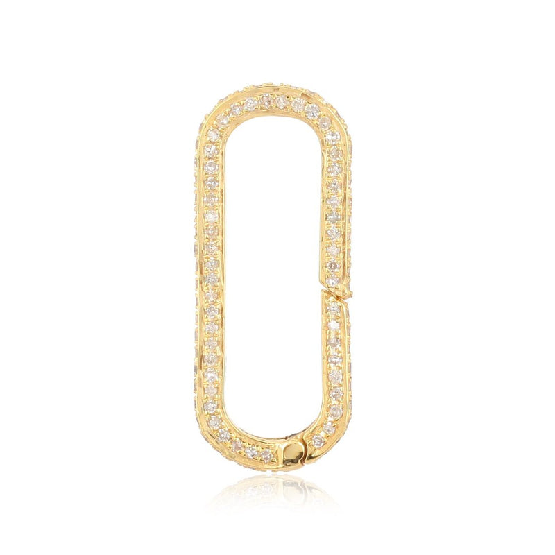 14K Solid Gold Large Diamond Enhancer Charm Pendant Lock