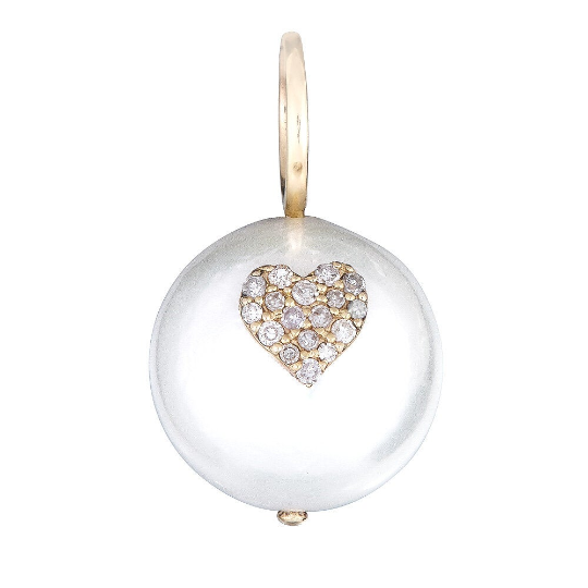 14k Gold Pearl Diamond Heart Charm