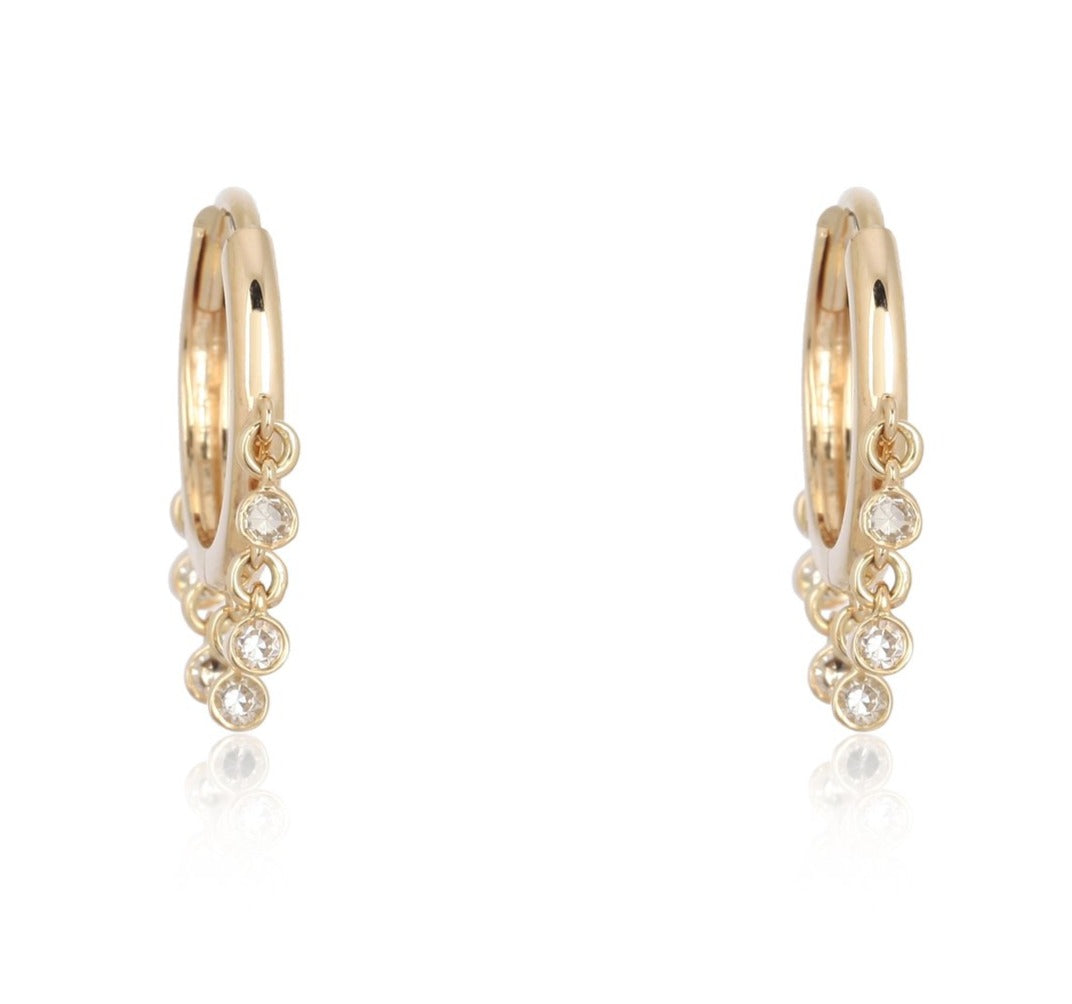 14k Diamond Dangle Hoops - Nolita