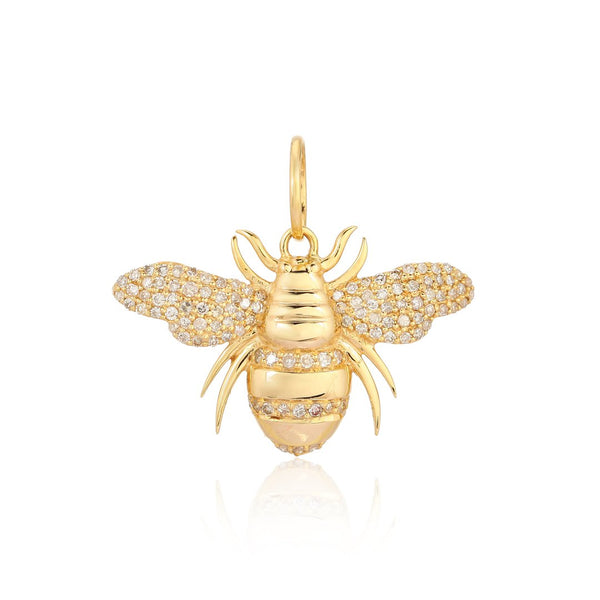 14k Diamond Bee Charm - Nolita