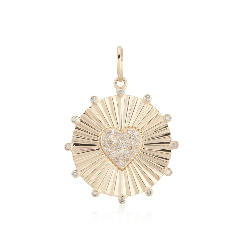 14k Diamond Heart Medallion Charm