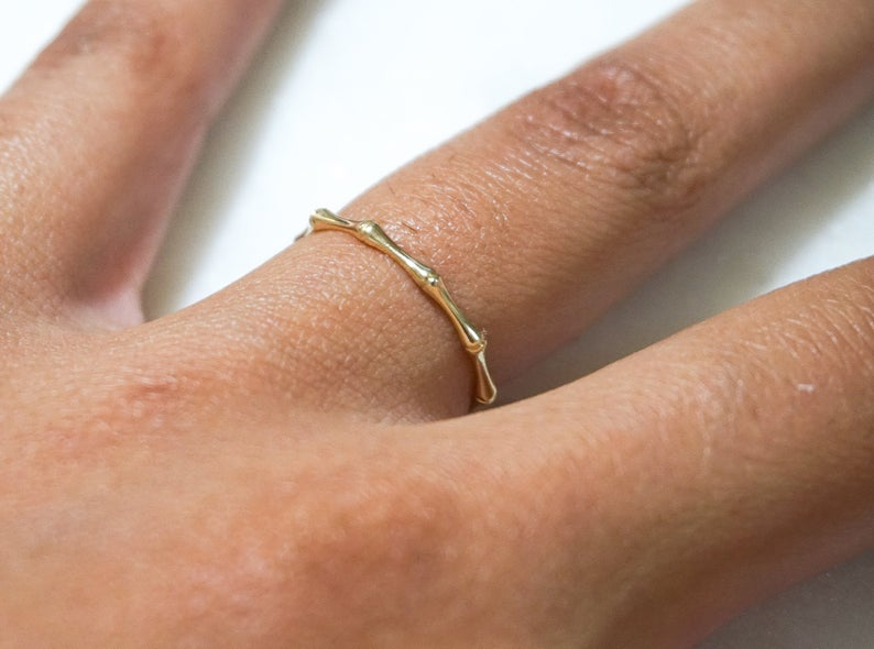 14k Gold Bamboo Ring