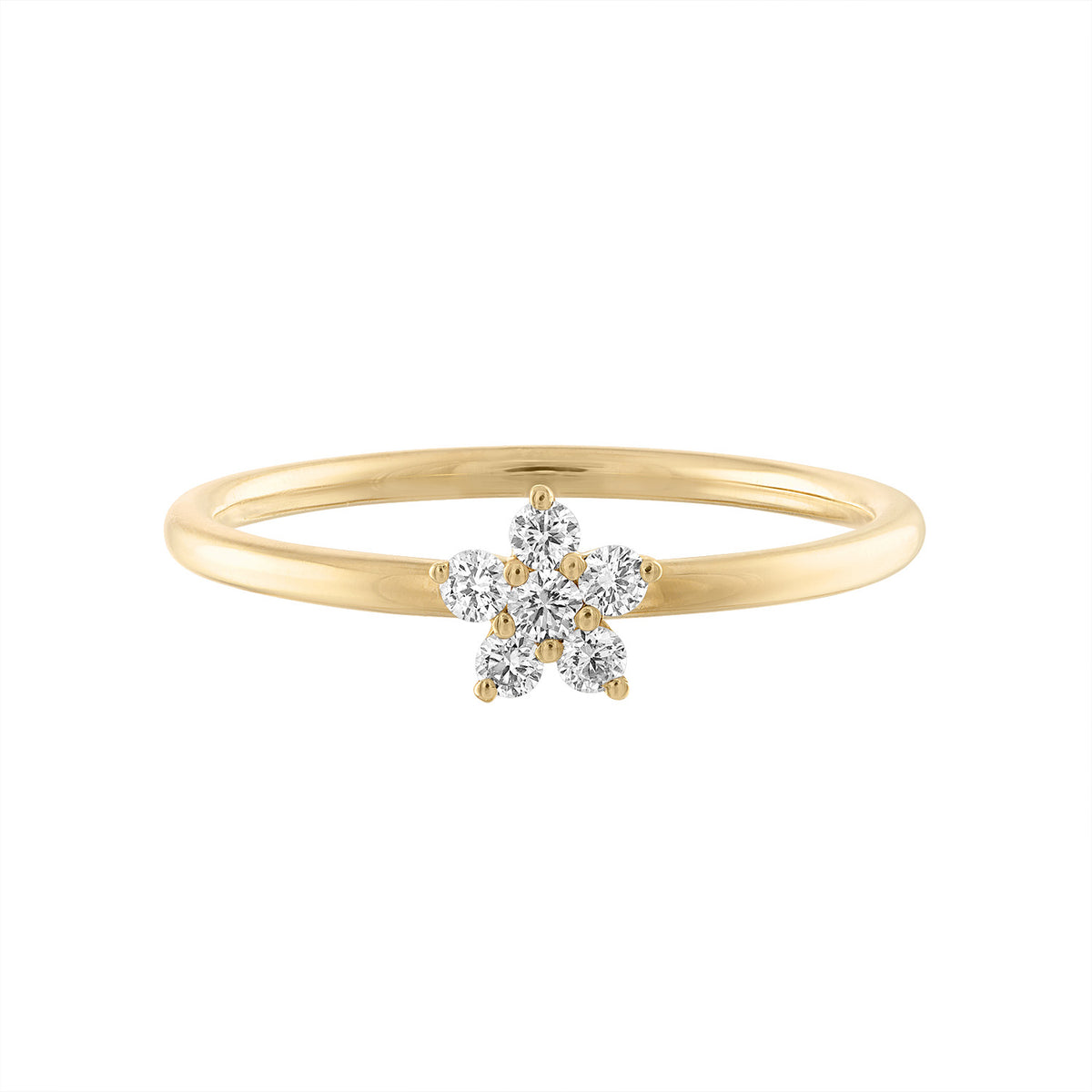 14K Diamond Flower Ring