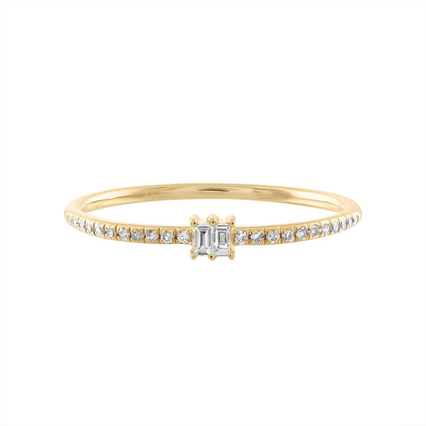 14K Double Baguette Diamond Ring