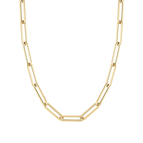 14k Paperclip Chain Necklace - Large