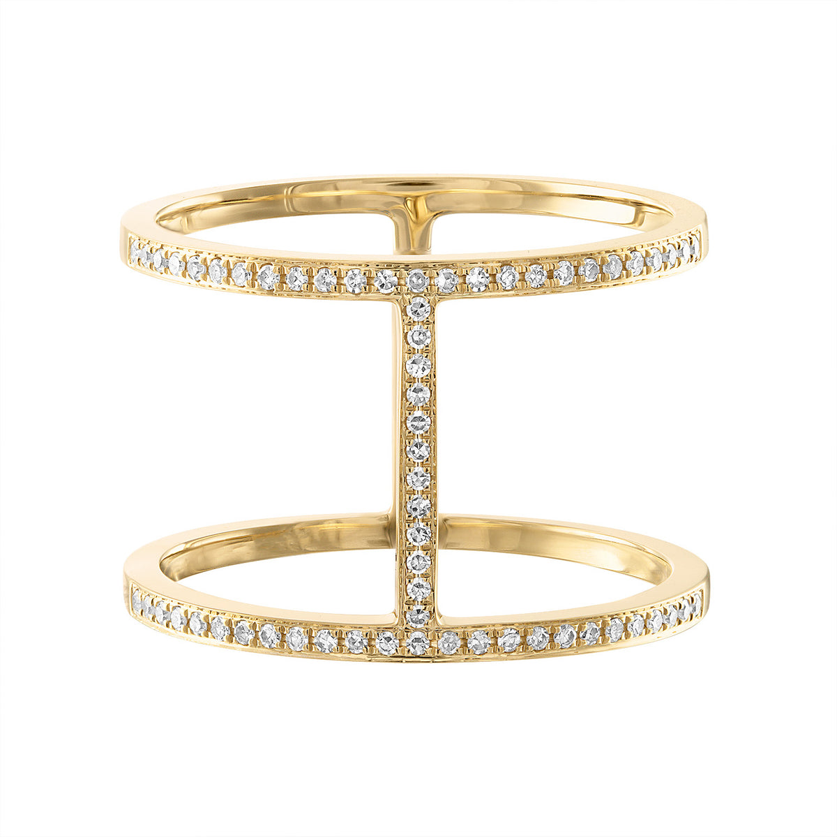 14K Vertical Double Row Diamond Ring