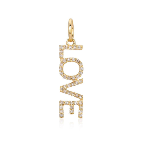 14k Diamond Love Charm