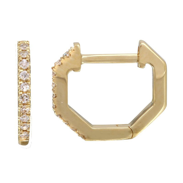 14k Diamond Octagon Huggie Earrings