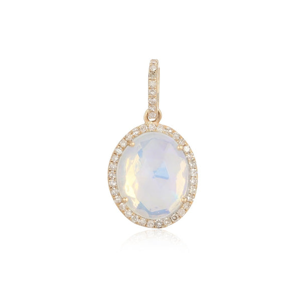 14k Gold Diamond Opal Charm - Nolita