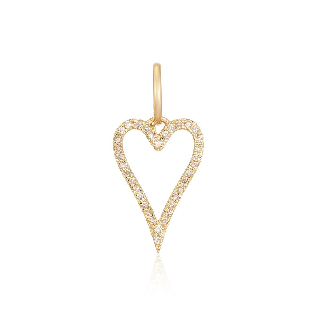 14k Diamond Open Heart Charm - Nolita
