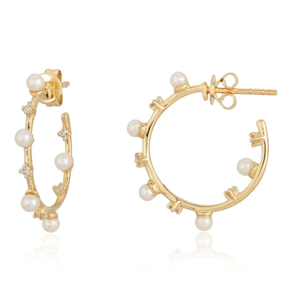 14k Diamond Pearl Hoop Earrings