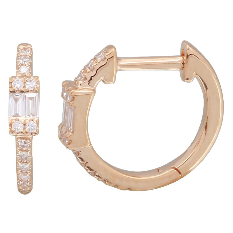 14k Diamond Baguette Huggies - Nolita