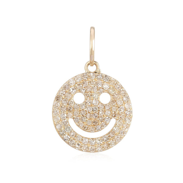 14k Diamond Smiley Face Charm